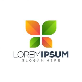 Modelo de logotipo de folha colorida