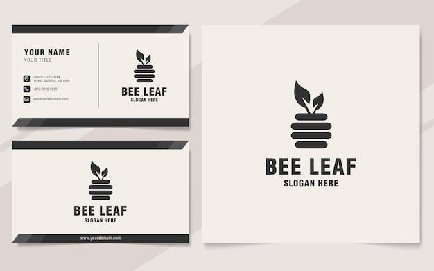 Modelo de logotipo de folha de abelha em estilo monograma