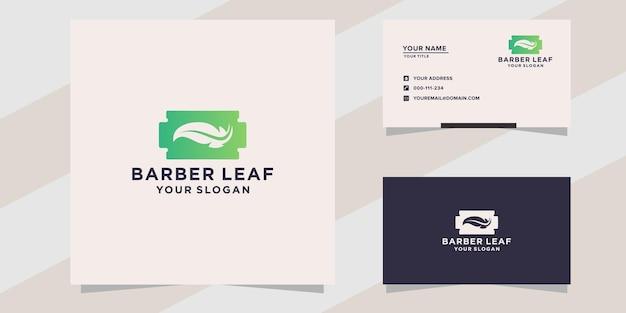 Modelo de logotipo de folha de barbearia
