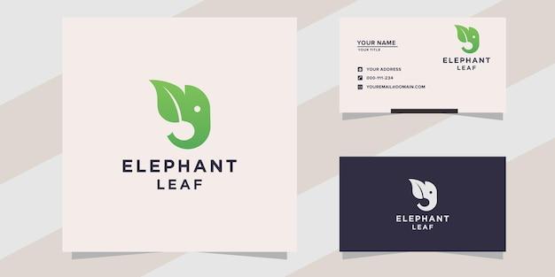 Modelo de logotipo de folha de elefante