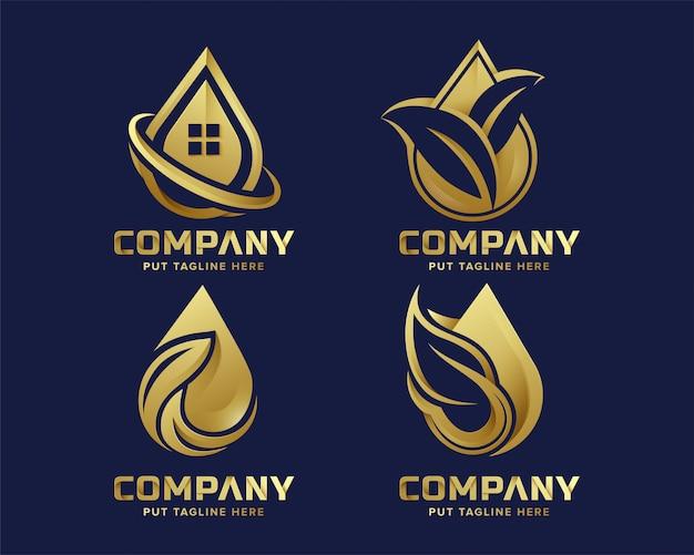 Modelo de logotipo de folha de gota de água eco luxo premium