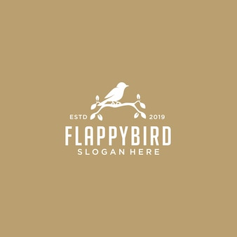 Modelo de logotipo de folha de pássaro