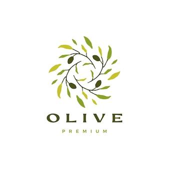 Modelo de logotipo de folha de ramo de oliveira