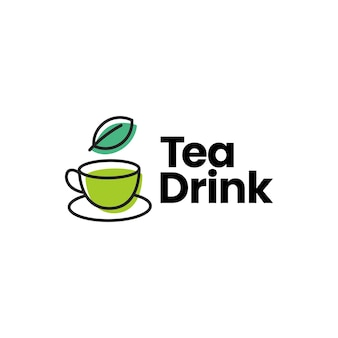 Modelo de logotipo de folha de xícara de chá e bebida