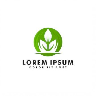 Modelo de logotipo de folha eco