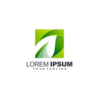 Modelo de logotipo de folha gradiente