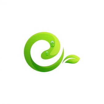 Modelo de logotipo de folha letra e
