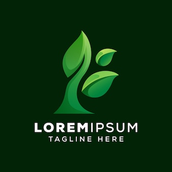 Modelo de logotipo de folha natural