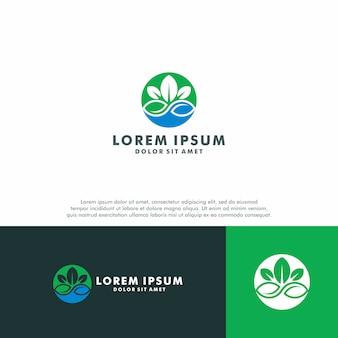 Modelo de logotipo de folha verde