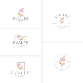 Modelo de logotipo de folhas botânicas elegantes e bonitas