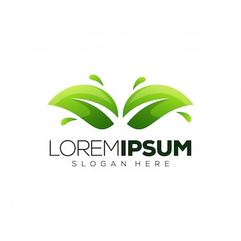 Modelo de logotipo de folhas