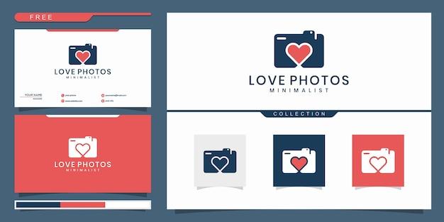 Modelo de logotipo de foto de câmera de amor isolado