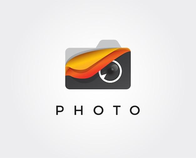 Modelo de logotipo de fotografia mínima - ilustração