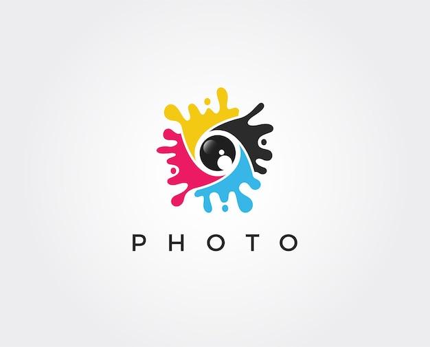 Modelo de logotipo de fotografia mínima