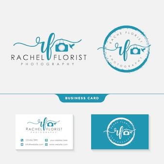 Modelo de logotipo de fotógrafo e cartão de visita