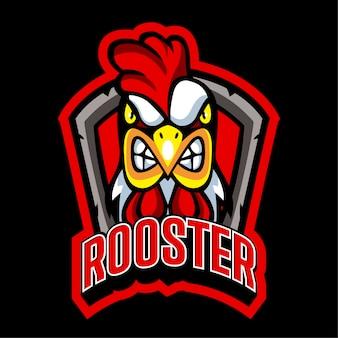 Modelo de logotipo de frango de equipe de esports de galo