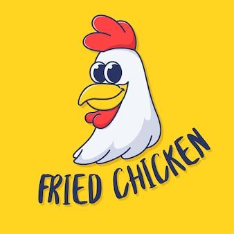 Modelo de logotipo de frango em design plano