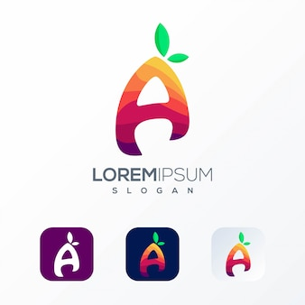 Modelo de logotipo de fruta carta colorida
