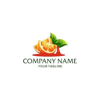 Modelo de logotipo de fruta laranja