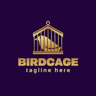 Modelo de logotipo de gaiola de pássaro