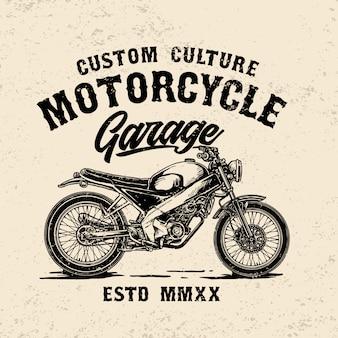Modelo de logotipo de garagem de moto vintage personalizado