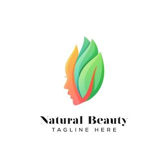 Modelo de logotipo de garota de beleza natural