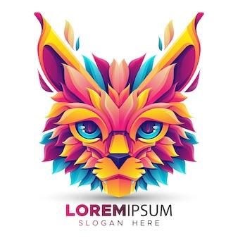 Modelo de logotipo de gato colorido