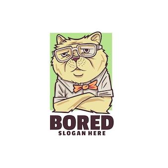 Modelo de logotipo de gato entediado