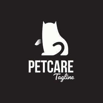 Modelo de logotipo de gato sentado minimalista plana.
