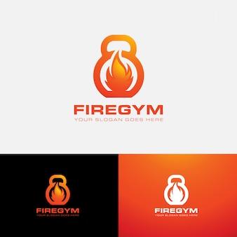 Modelo de logotipo de ginásio de fitness e fogo