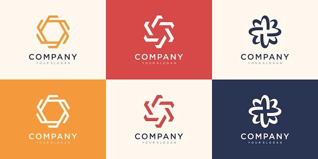 Modelo de logotipo de giro abstrato. use o logotipo para tecnologia digital, esporte, comunidade.