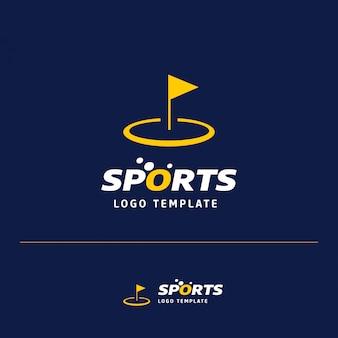 Modelo de logotipo de golfe com bandeira