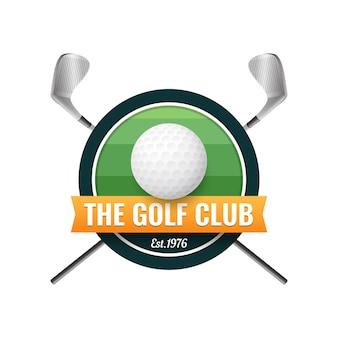 Modelo de logotipo de golfe gradiente com bola e tacos