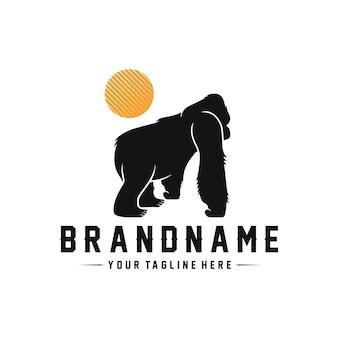Modelo de logotipo de gorila selvagem