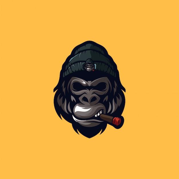 Modelo de logotipo de gorila