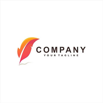 Modelo de logotipo de gradiente de cor de penas