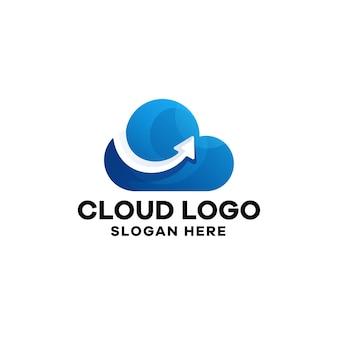 Modelo de logotipo de gradiente de nuvem