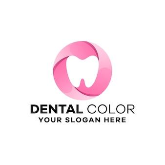Modelo de logotipo de gradiente dentário abstrato