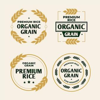 Modelo de logotipo de grãos orgânicos de arroz