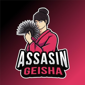 Modelo de logotipo de gueixa assassino