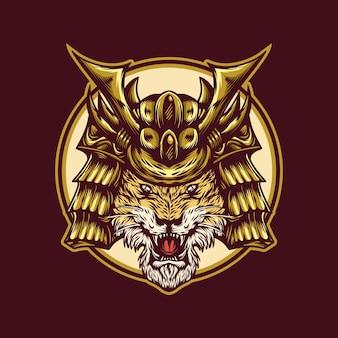 Modelo de logotipo de guerreiro tigre