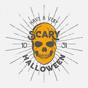Modelo de logotipo de halloween com caveira, rajadas de sol e elementos de tipografia.
