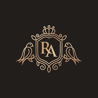 Modelo de logotipo de heráldica de pássaros de luxo