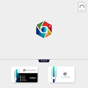 Modelo de logotipo de hexágono de fotografia