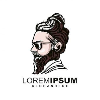 Modelo de logotipo de homem barbudo