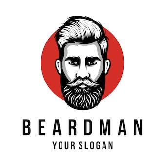 Modelo de logotipo de homem de barba