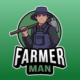 Modelo de logotipo de homem de fazendeiro isolado em verde