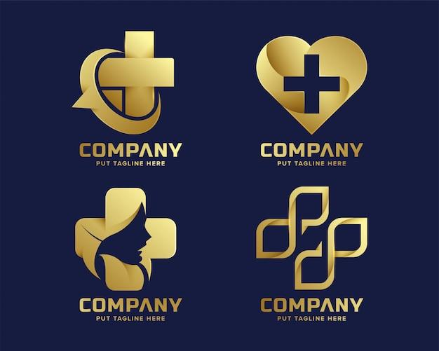 Modelo de logotipo de hospital médico de luxo premium para empresa