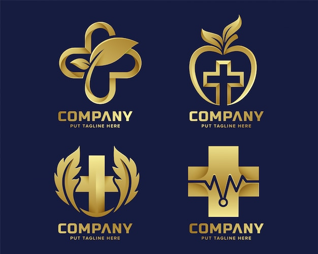 Modelo de logotipo de hospital médico de ouro premium