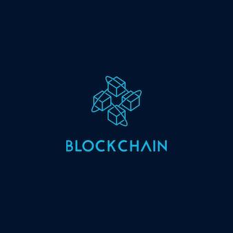 Modelo de logotipo de ícone de cadeia de bloco